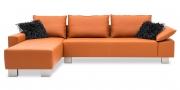 PABLO - 2,5 Platz Sofa mit Longchair in Leder Volcano und schwarzen Zierkissen