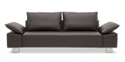 PABLO - 2,5 Platz Sofa in Leder Rustik schwarz-braun mit Effektnaht