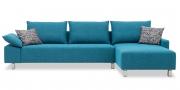 PABLO - 2,5 Platz Sofa mit Longchair in blauem Stoff Höpke Active Line