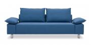 PABLO II - 2,5 Platz Sofa mit klappbaren Armlehnen in Mikrofaser S+V Like Suede blau