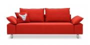 PABLO II - 2,5 Platz Sofa mit klappbaren Armlehnen in Mikrofaser S+V Like Suede rot