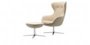 QUEEN - Hochlehner Sessel mit Hocker im Wollstoff BiColor beige / grau