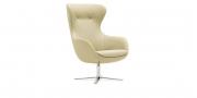 QUEEN - Hochlehner Sessel in Leder beige