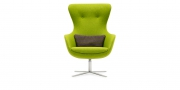 QUEEN - Hochlehner Sessel im Wollstoff grün (Frontansicht)