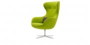 QUEEN - Hochlehner Sessel im Wollstoff grün (Seitenansicht)