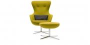 QUEEN - Hochlehner Sessel in gelbem Wollstoff mit passenden Hocker