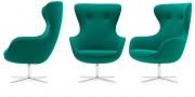 QUEEN - Hochlehner Sessel im Wollstoff petrol (3 Ansichten)