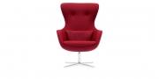 QUEEN - Hochlehner Sessel in rotem Wollstoff