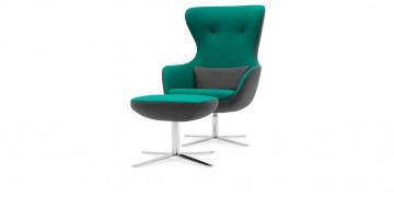 QUEEN - Hochlehner Sessel mit Hocker im Wollstoff BiColor