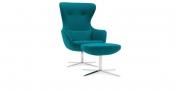 QUEEN - Hochlehner Sessel in hellblauem Wollstoff mit Lendenkissen und Hocker