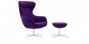 QUEEN - Hochlehner Sessel im violettem Wollstoff mit schwarzer Effektnaht