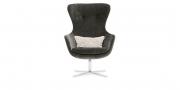 QUEEN - Hochlehner Sessel in grauem Samt-Stoff von Chivasso