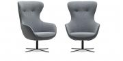 QUEEN - Hochlehner Sessel in Leder Napoli grau Sitz und knöpfe in Wolle grau