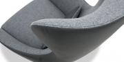 QUEEN - Detailbild Naht Rücken in Leder und Wollstoff grau