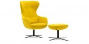 QUEEN - Hochlehner Sessel mit Hocker 360 grad drehbar in Stoff Villena Curry