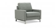 SALMA - Sessel in grau meliertem Stoff Seitenansicht ohn Kissen