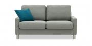 SALMA - 2 Platz Sofa in grau meliertem Stoff mit Kissen