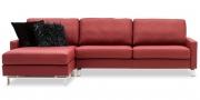 SALMA - 2,5 Platz Sofa mit Longchair in Leder Mastratto Atlantic mit Kissen