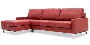 SALMA - 2,5 Platz Sofa mit Longchair in Leder Mastratto Atlantic in der Seitenansicht ohne Kissen