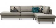 SALMA - Sofa als Eckkombination in Leder Bull Club grau mit Kissen