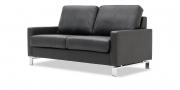 SALMA - 2 Platz Sofa in schwarzem Leder Napoli