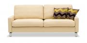 SALMA - 2,5 Platz Sofa in Alcantara sea sand mit Zierkissen