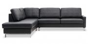 SALMA - Sofa als Eckkombination in Leder Rustik anthrazit