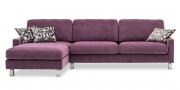 SALMA - 2,5 Platz Sofa mit Longchair in Stoff Sonnhaus Villena flieder