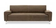 SIGNUM mit Rücken Vento - 2,5 Platz Sofa in dunkelbraunem Saddle-Leder mit Vintageeffekt