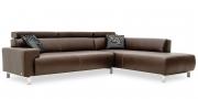 SIGNUM - 2,5 Platz Sofa mit Anbausofa im Leder Rustik espresso