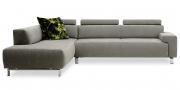 SIGNUM - 2,5 Platz Sofa mit Anbausofa im Alcantara Colorado Armonia hellgrau