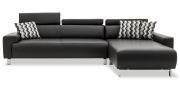 SIGNUM - 2,5 Platz Sofa mit Longchair in Leder Bull Club cigarro mit Zierkissen