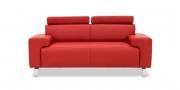 SIGNUM - 2 Platz Sofa mit Finesse Kopfstützen in rotem Leder
