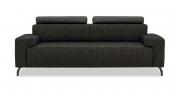 SIGNUM - 2,5 Platz Sofa in Stoff Englisch Dekor mit Schulterstützen in schwarzen Leder