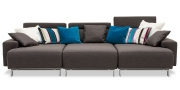 SIGNUM - Sofa Liegewiese in Stoff Veotex Lounge Perfection Gargoyle dunkelbraun