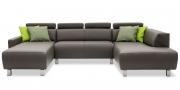 SIGNUM - Sofa in U-Form mit Schulterstützen in Leder Jumbo taupe dunkelbraun