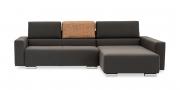 SIRIUS - 2,5 Platz Sofa mir Longchair in braunem Stoff als Hochlehner