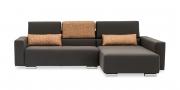 SIRIUS - 2,5 Platz Sofa mir Longchair in braunem Stoff als Hochlehner mit zwei Lendenkissen