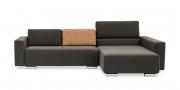 SIRIUS - 2,5 Platz Sofa mir Longchair in braunem Stoff