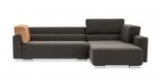 SIRIUS - 2,5 Platz Sofa mir Longchair in braunem Stoff mit losen Rückenkissen auf Armlehnen