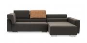 SIRIUS - 2,5 Platz Sofa mir Longchair in braunem Stoff als Verwandlungskünstler