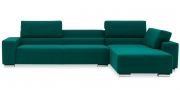 SIRIUS - 2,5 Platz Sofa mit Longchair in Sonderlänge im Stoff petrol