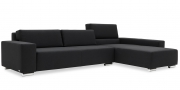 SIRIUS - 2,5 Platz Sofa mit Longchair in Sonderlänge im Stoff schwarz