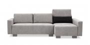 SIRIUS - Sofa in Sonderbreite mit Longchair im Mikrofaserstoff Alcantara grau