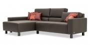 SIRIUS - 2 Platz Sofa mit Longchair in braunem Leder Dolomiti brazil