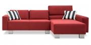 SIRIUS - 2 Platz Sofa mit Longchair in Mikrofaserstoff S6V Like Suede rot