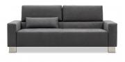 SIRIUS - 2,5 Platz Sofa mit Lendenkissen in Mikrofaserstoff Like Suede dunkelgrau