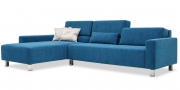 SIRIUS - 2,5 Platz Sofa mit Longchair in Stoff Sonnhaus Villena azur blau