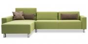SIRIUS - 2,5 Platz Sofa mit Longchair in Stoff Prima hellgrün
