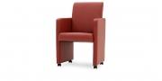 SOLO - Sessel in Leder Brasilia rot mit Rollen